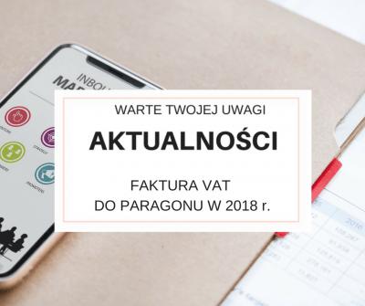 FAKTURA VAT DO PARAGONU W 2018 r.